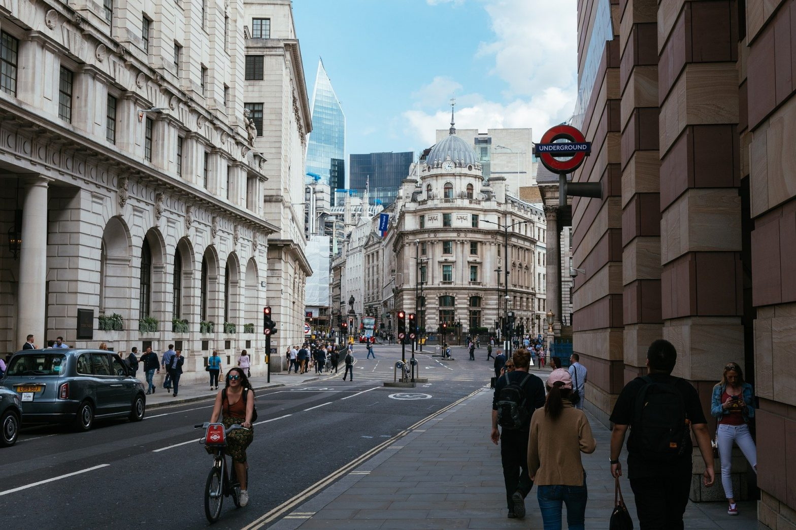View from City of London Street of Bank of England