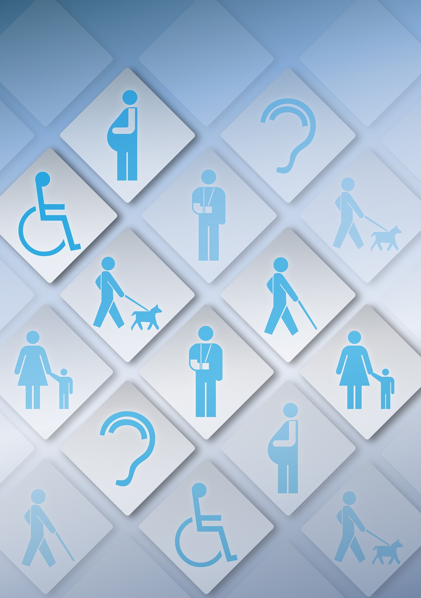 Several accessibility 'logos'; wheelchair user, assistance dog and user, an ear, walking stick user, someone with bandaged arm