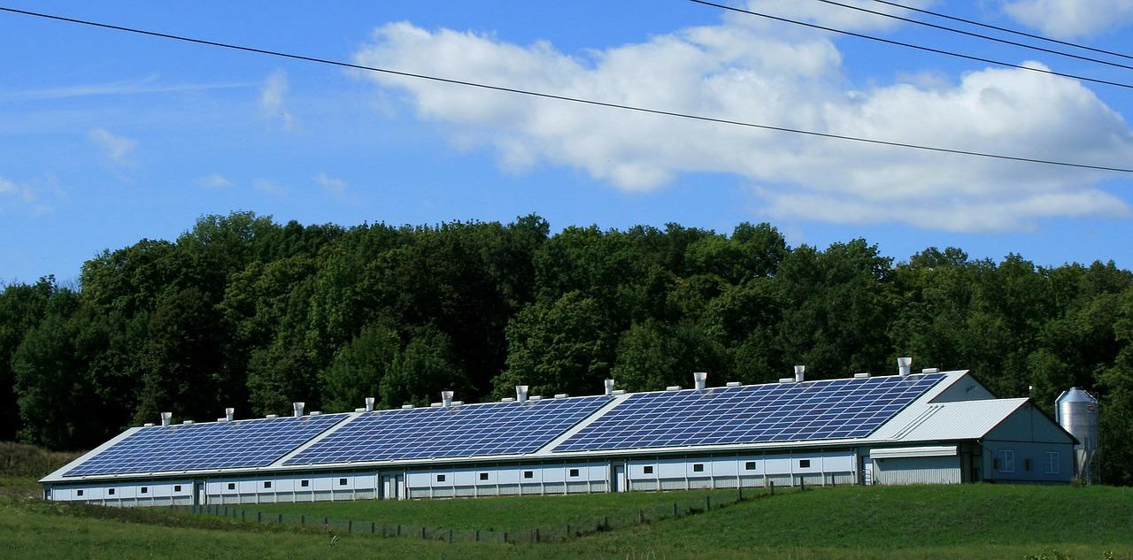large solar panels on solar panel barn